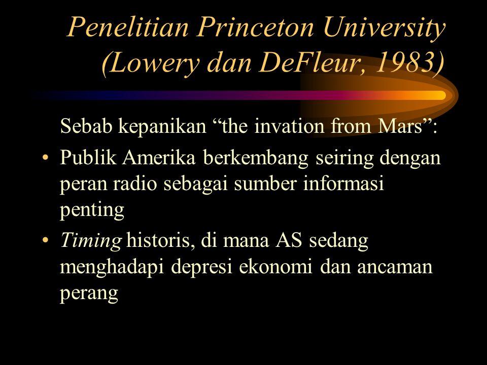Penelitian Princeton University (Lowery dan DeFleur, 1983) Sebab kepanikan the invation from Mars : Publik Amerika berkembang seiring dengan peran radio sebagai sumber informasi penting Timing historis, di mana AS sedang menghadapi depresi ekonomi dan ancaman perang