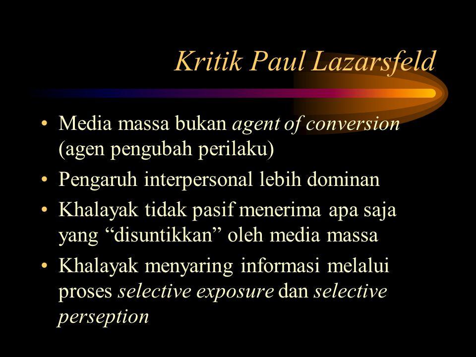 McQuail (1975) Sejauh mana suatu persoalan dianggap penting oleh khalayak akan mempengaruhi kemungkinan pengaruh media massa Hubungan interpersonal pada khalayak mengantarai arus isi komunikasi, membatasi dan menentukan efek yang terjadi