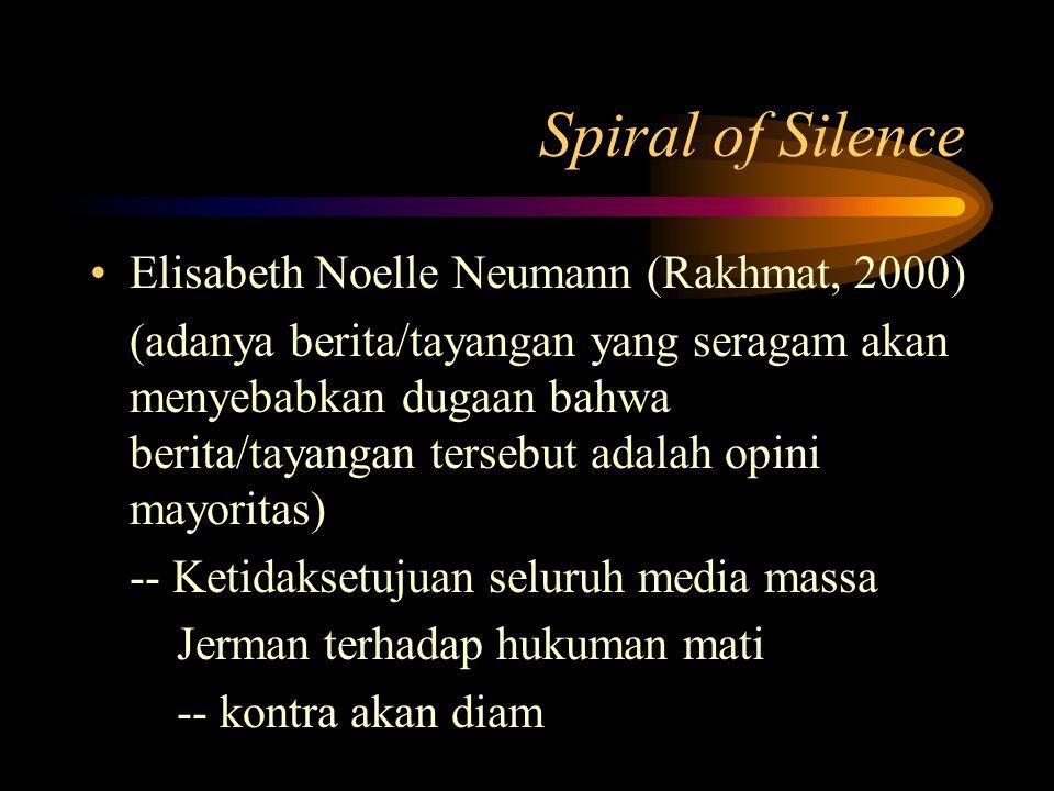 Spiral of Silence Elisabeth Noelle Neumann (Rakhmat, 2000) (adanya berita/tayangan yang seragam akan menyebabkan dugaan bahwa berita/tayangan tersebut adalah opini mayoritas) -- Ketidaksetujuan seluruh media massa Jerman terhadap hukuman mati -- kontra akan diam