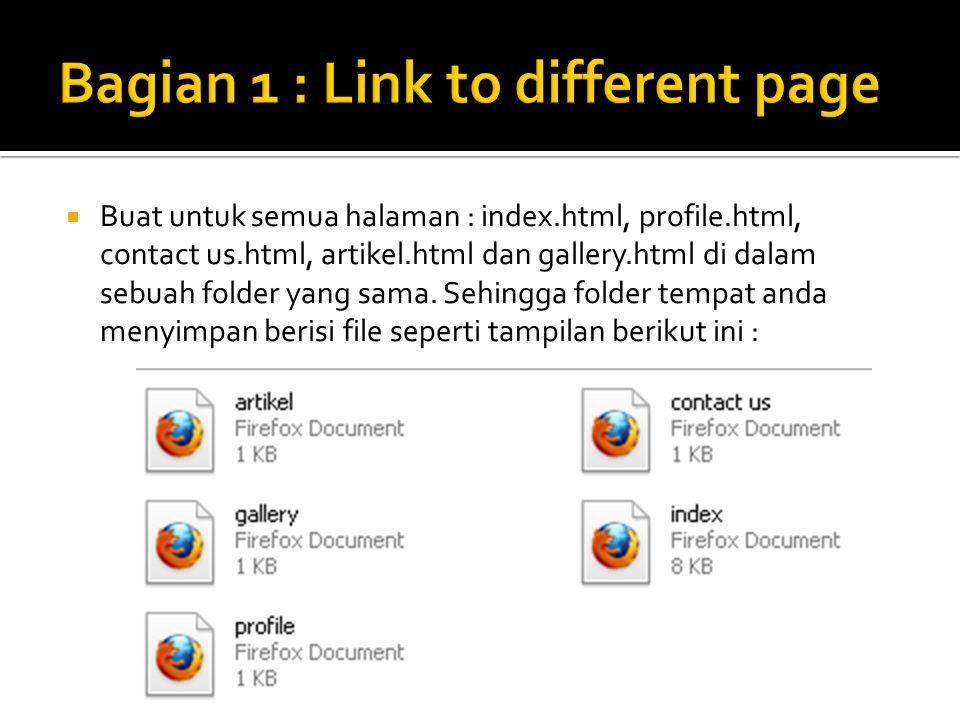  Buat untuk semua halaman : index.html, profile.html, contact us.html, artikel.html dan gallery.html di dalam sebuah folder yang sama.
