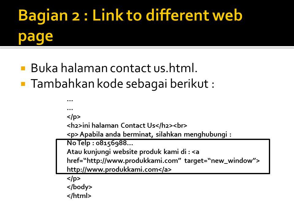  Buka halaman contact us.html.