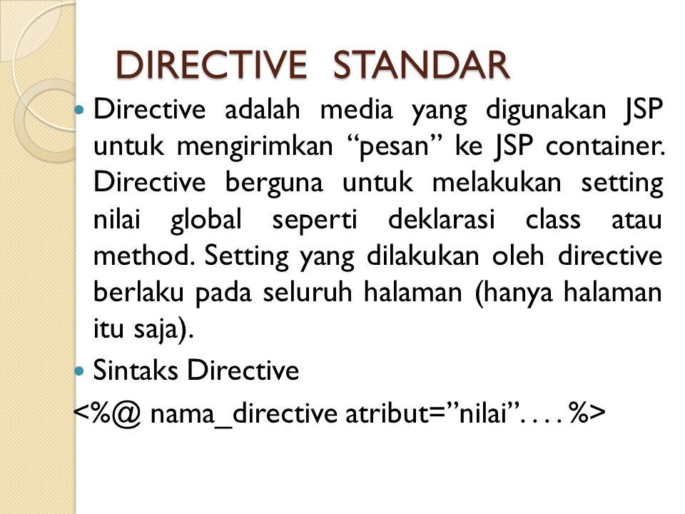 """DIRECTIVE STANDAR Directive adalah media yang digunakan JSP untuk mengirimkan """"pesan"""" ke JSP container. Directive berguna untuk melakukan setting nila"""