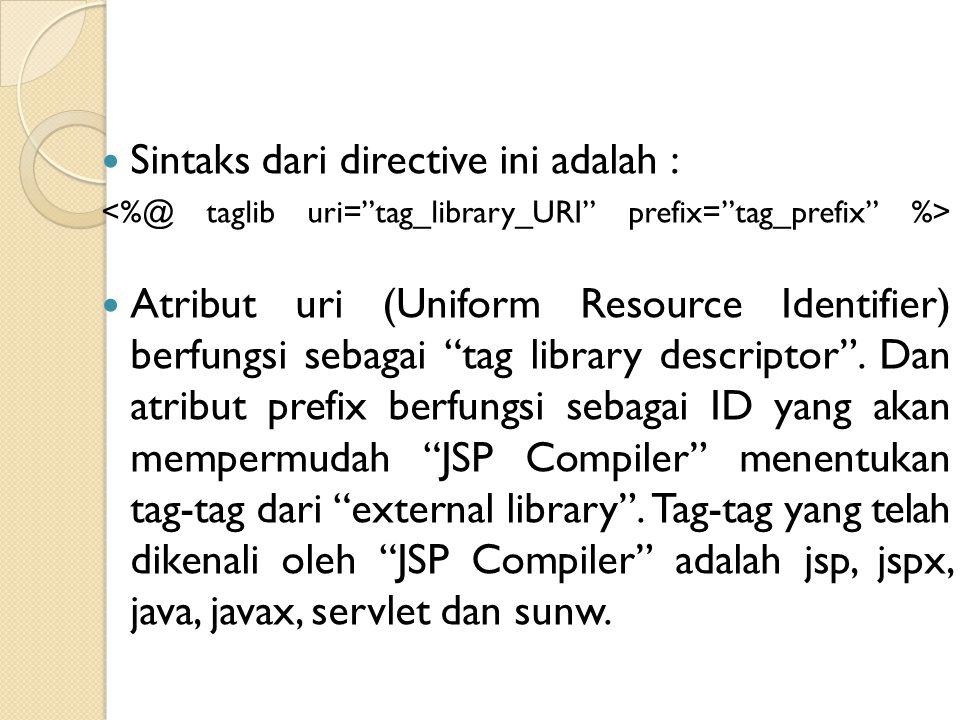 "Sintaks dari directive ini adalah : Atribut uri (Uniform Resource Identifier) berfungsi sebagai ""tag library descriptor"". Dan atribut prefix berfungsi"
