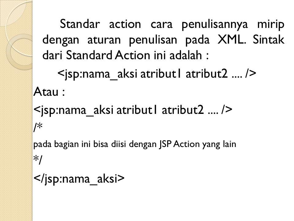 Standar action cara penulisannya mirip dengan aturan penulisan pada XML. Sintak dari Standard Action ini adalah : Atau : /* pada bagian ini bisa diisi