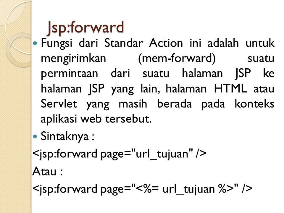 Jsp:forward Fungsi dari Standar Action ini adalah untuk mengirimkan (mem-forward) suatu permintaan dari suatu halaman JSP ke halaman JSP yang lain, ha