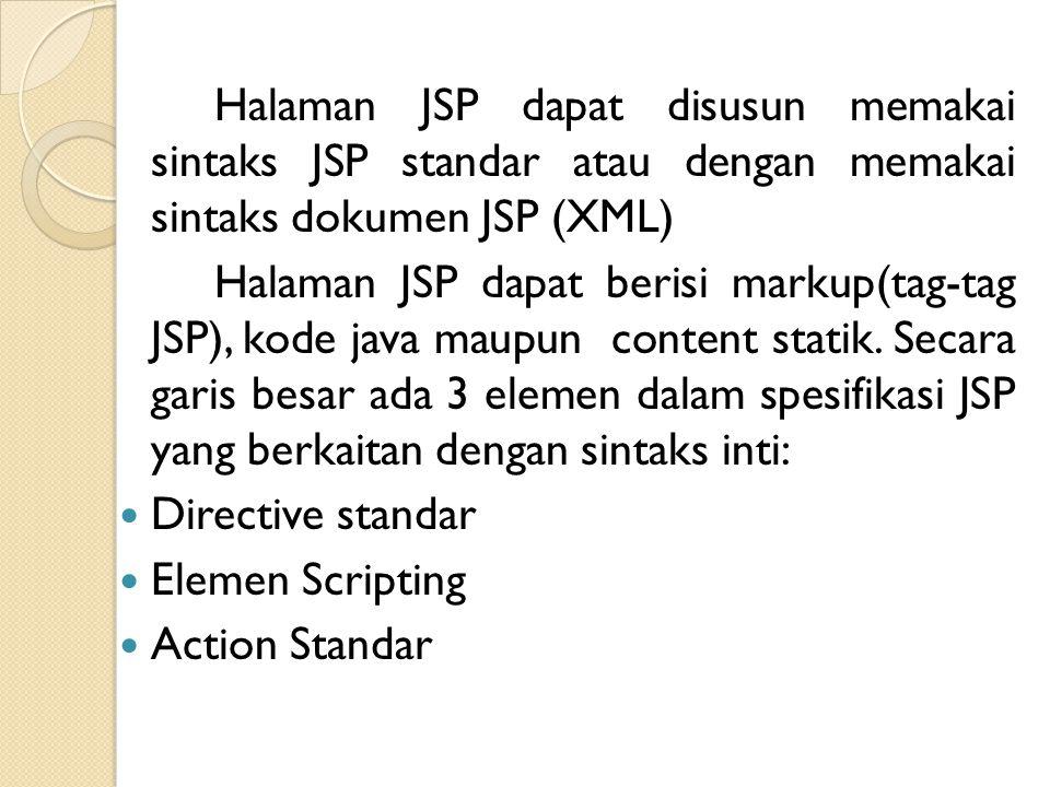 Halaman JSP dapat disusun memakai sintaks JSP standar atau dengan memakai sintaks dokumen JSP (XML) Halaman JSP dapat berisi markup(tag-tag JSP), kode