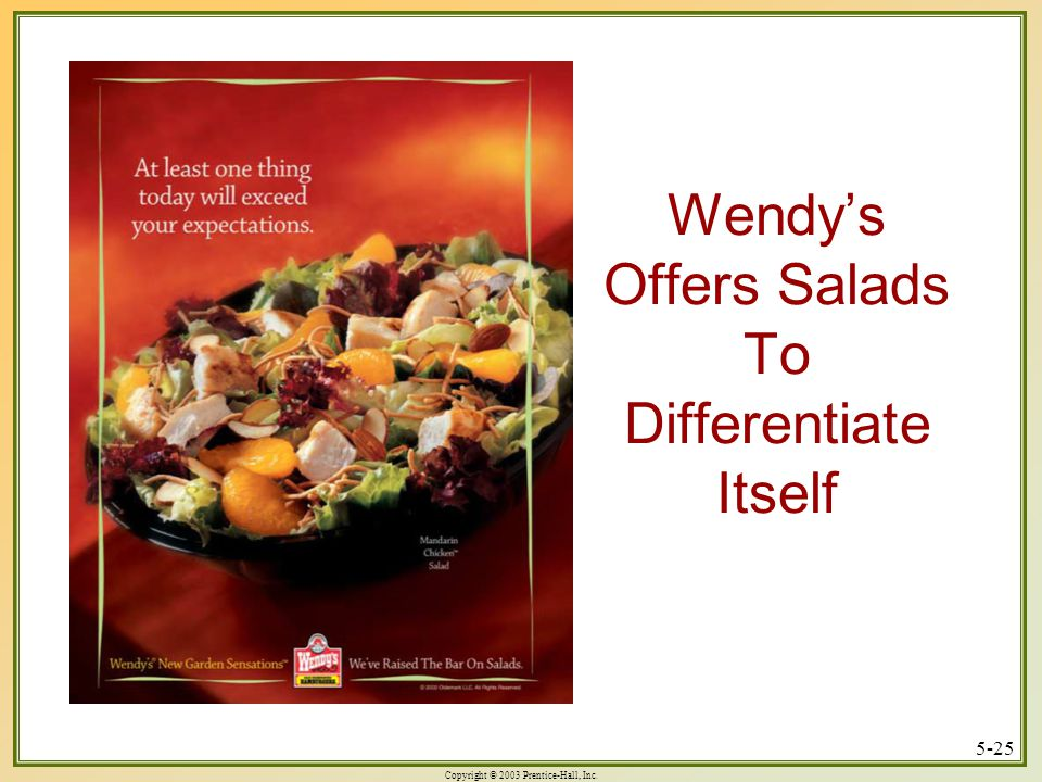 Copyright © 2003 Prentice-Hall, Inc. 5-25 Wendy's Offers Salads To Differentiate Itself