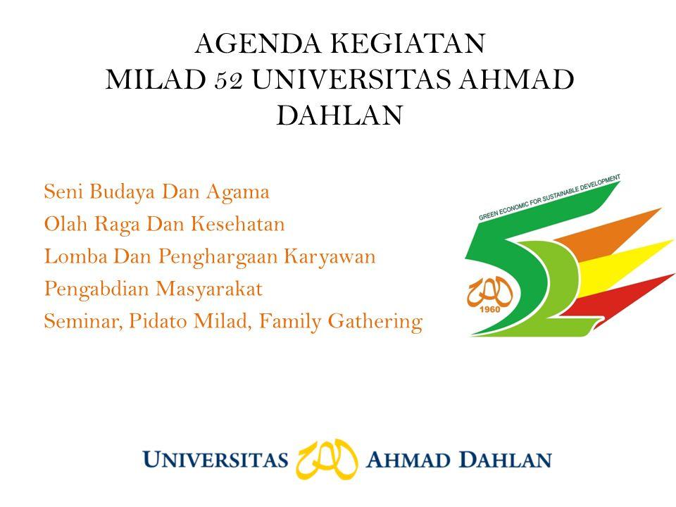 AGENDA KEGIATAN MILAD 52 UNIVERSITAS AHMAD DAHLAN Seni Budaya Dan Agama Olah Raga Dan Kesehatan Lomba Dan Penghargaan Karyawan Pengabdian Masyarakat Seminar, Pidato Milad, Family Gathering