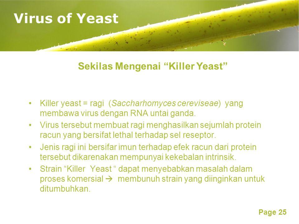 Page 25 Virus of Yeast Sekilas Mengenai Killer Yeast Killer yeast = ragi (Saccharhomyces cereviseae) yang membawa virus dengan RNA untai ganda.