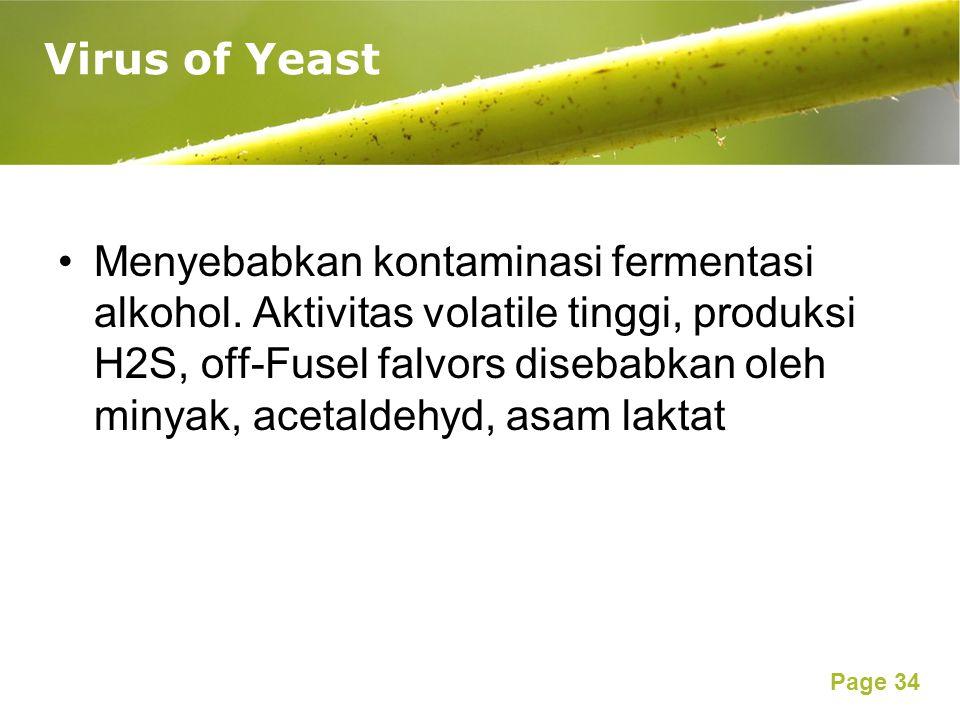 Page 34 Menyebabkan kontaminasi fermentasi alkohol. Aktivitas volatile tinggi, produksi H2S, off-Fusel falvors disebabkan oleh minyak, acetaldehyd, as