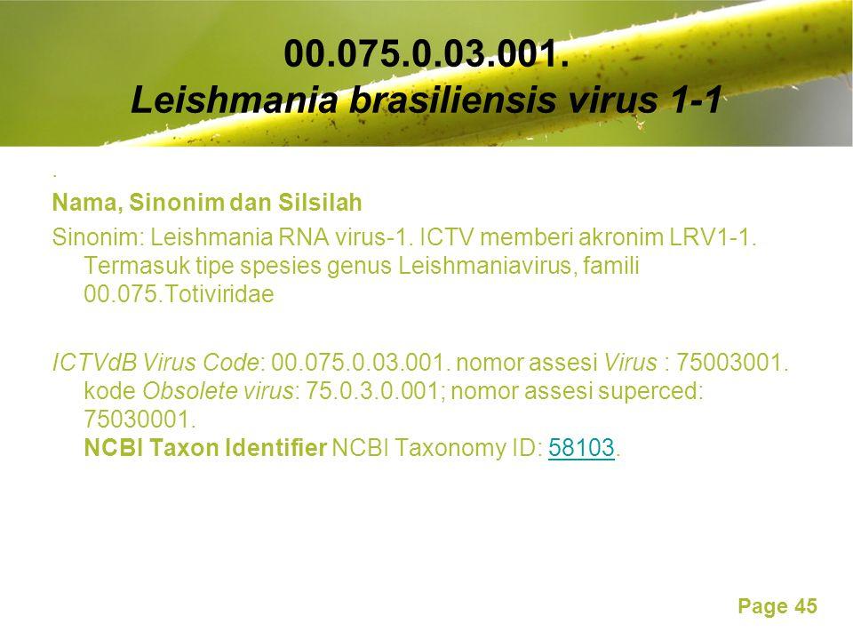 Page 45 00.075.0.03.001. Leishmania brasiliensis virus 1-1. Nama, Sinonim dan Silsilah Sinonim: Leishmania RNA virus-1. ICTV memberi akronim LRV1-1. T