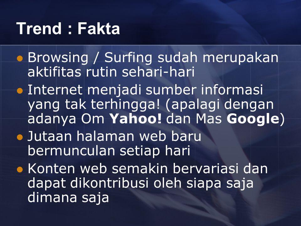 Trend : Fakta Browsing / Surfing sudah merupakan aktifitas rutin sehari-hari Internet menjadi sumber informasi yang tak terhingga.