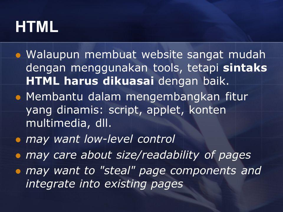 HTML Walaupun membuat website sangat mudah dengan menggunakan tools, tetapi sintaks HTML harus dikuasai dengan baik.