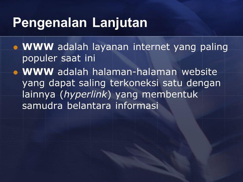 Pengenalan Lanjutan WWW adalah layanan internet yang paling populer saat ini WWW adalah halaman-halaman website yang dapat saling terkoneksi satu dengan lainnya (hyperlink) yang membentuk samudra belantara informasi