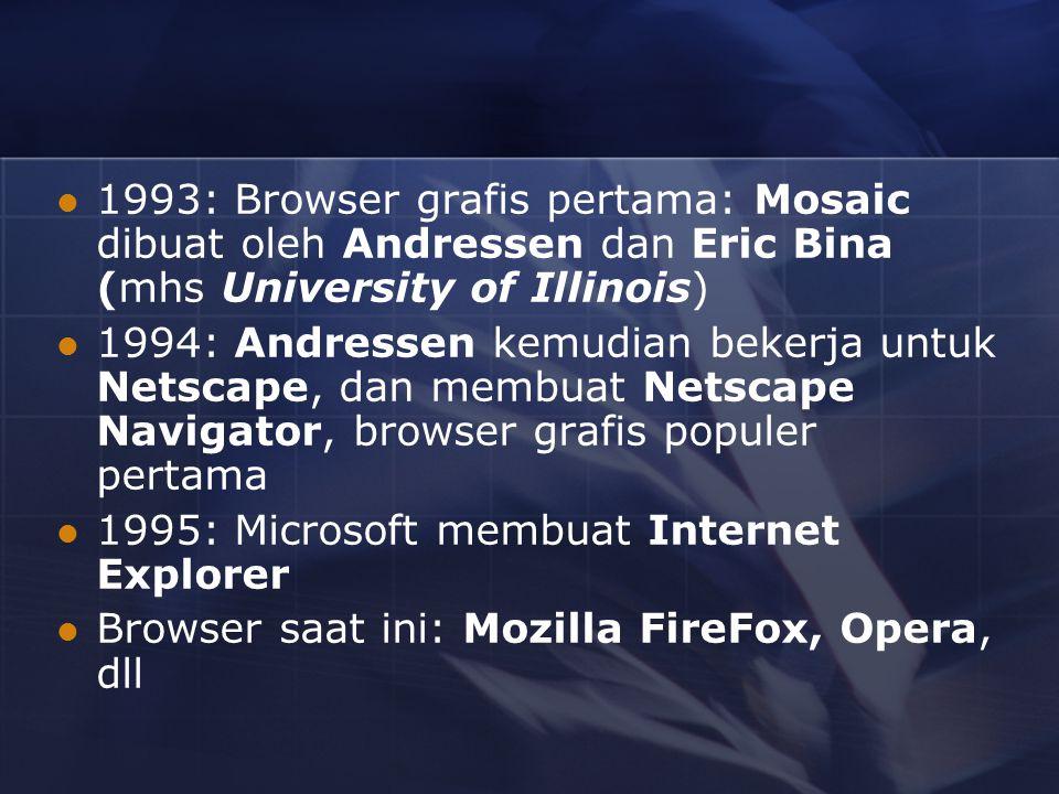 1993: Browser grafis pertama: Mosaic dibuat oleh Andressen dan Eric Bina (mhs University of Illinois) 1994: Andressen kemudian bekerja untuk Netscape, dan membuat Netscape Navigator, browser grafis populer pertama 1995: Microsoft membuat Internet Explorer Browser saat ini: Mozilla FireFox, Opera, dll