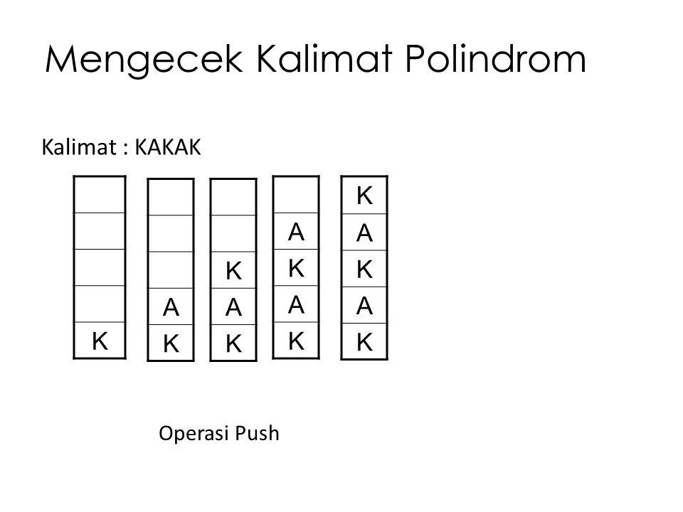 Mengecek Kalimat Polindrom Kalimat : KAKAK K A K K A K K A K A K A K A K Operasi Push