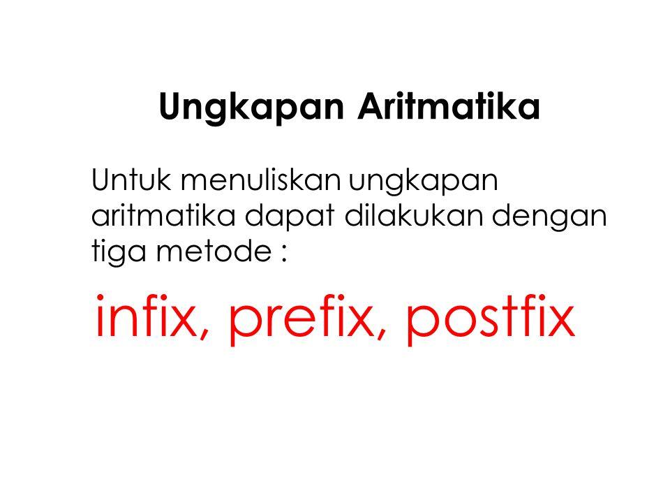 Ungkapan Aritmatika Untuk menuliskan ungkapan aritmatika dapat dilakukan dengan tiga metode : infix, prefix, postfix