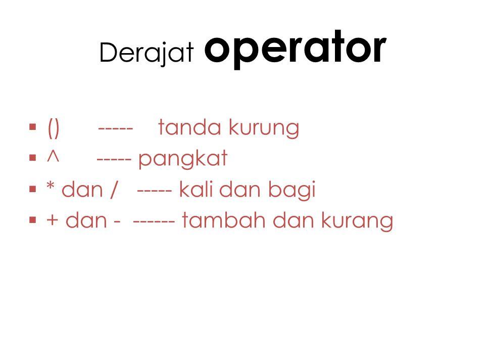 Derajat operator  () ----- tanda kurung  ^ ----- pangkat  * dan / ----- kali dan bagi  + dan - ------ tambah dan kurang