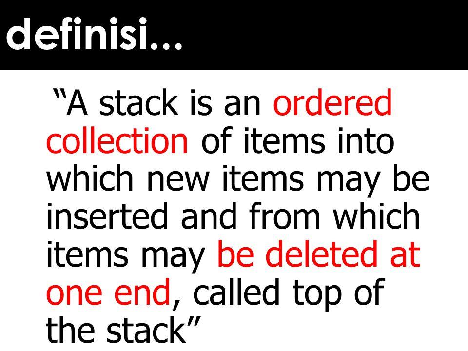 Mula-mula stack kosong T.atas = -1 Return = 1 push