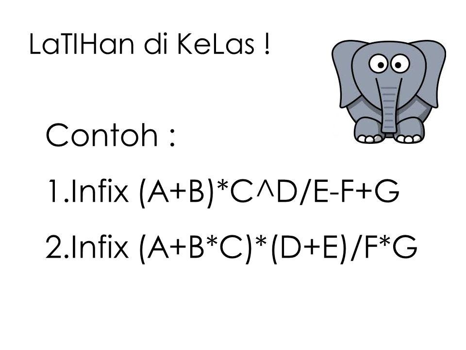 LaTIHan di KeLas ! Contoh : 1.Infix (A+B)*C^D/E-F+G 2.Infix (A+B*C)*(D+E)/F*G