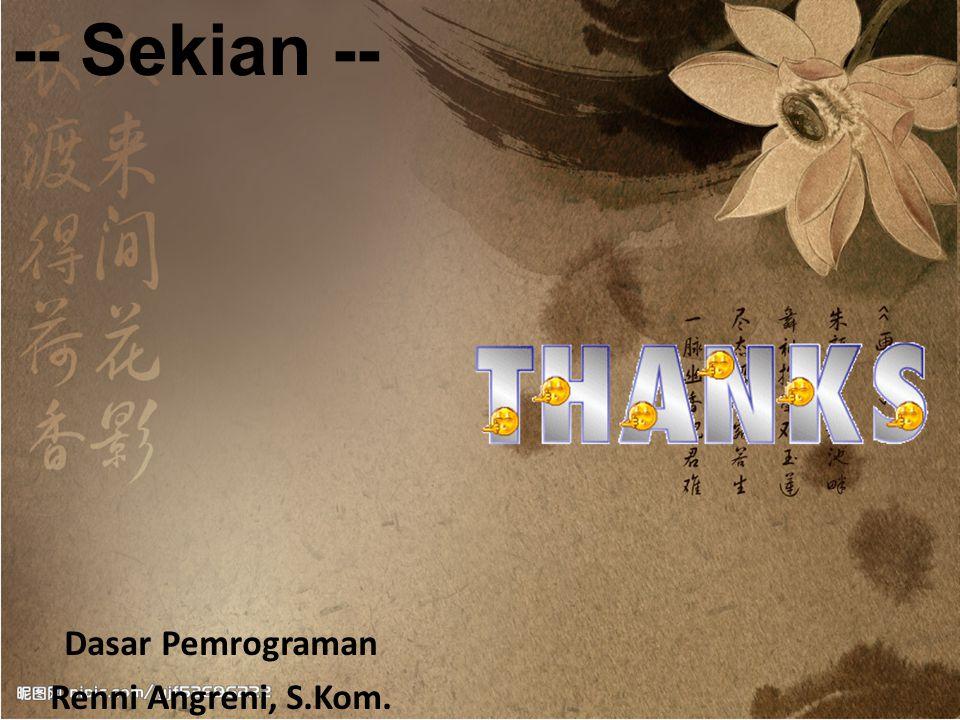 Free Powerpoint TemplatesPage 14 Dasar Pemrograman Renni Angreni, S.Kom.