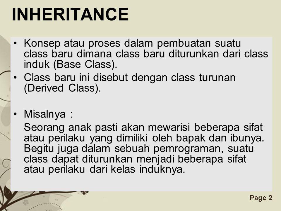Free Powerpoint TemplatesPage 2 INHERITANCE Konsep atau proses dalam pembuatan suatu class baru dimana class baru diturunkan dari class induk (Base Cl