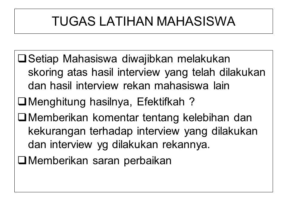 TUGAS LATIHAN MAHASISWA  Setiap Mahasiswa diwajibkan melakukan skoring atas hasil interview yang telah dilakukan dan hasil interview rekan mahasiswa lain  Menghitung hasilnya, Efektifkah .