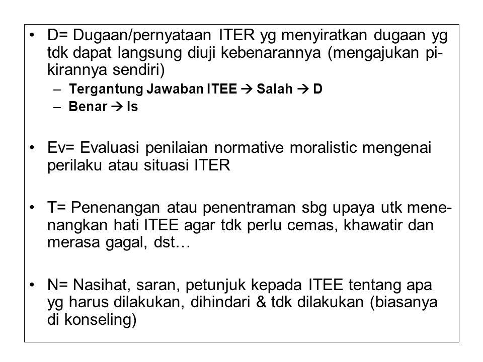 D= Dugaan/pernyataan ITER yg menyiratkan dugaan yg tdk dapat langsung diuji kebenarannya (mengajukan pi- kirannya sendiri) –Tergantung Jawaban ITEE  Salah  D –Benar  Is Ev= Evaluasi penilaian normative moralistic mengenai perilaku atau situasi ITER T= Penenangan atau penentraman sbg upaya utk mene- nangkan hati ITEE agar tdk perlu cemas, khawatir dan merasa gagal, dst… N= Nasihat, saran, petunjuk kepada ITEE tentang apa yg harus dilakukan, dihindari & tdk dilakukan (biasanya di konseling)