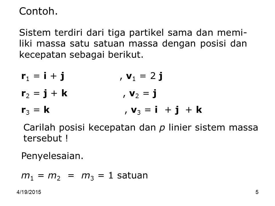 4/19/201526 Momentum Sudut Sistem (L) F2F2 m1m1 m2m2 F 12 F 21 r1r1 r2r2 x r 12 F1F1 0 Momentum sudut (L) partikel re- latif terhadap suatu titik tertentu, dinyatakan sebagai L = r × mv atau L = r × p dan momen gaya  = dL/dt.