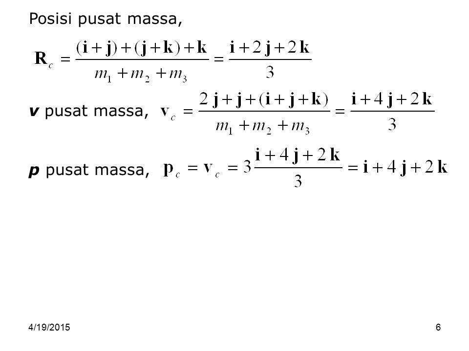 4/19/201527 Hukum kedua Newton untuk masing-masing partikel, Partikel pertama, m 1 a 1 = F 1 + F 12 Partikel kedua, m 2 a 2 = F 2 + F 21 Karena bergerak, tiap partikel suatu saat ber-v, v 1 dan v 2.
