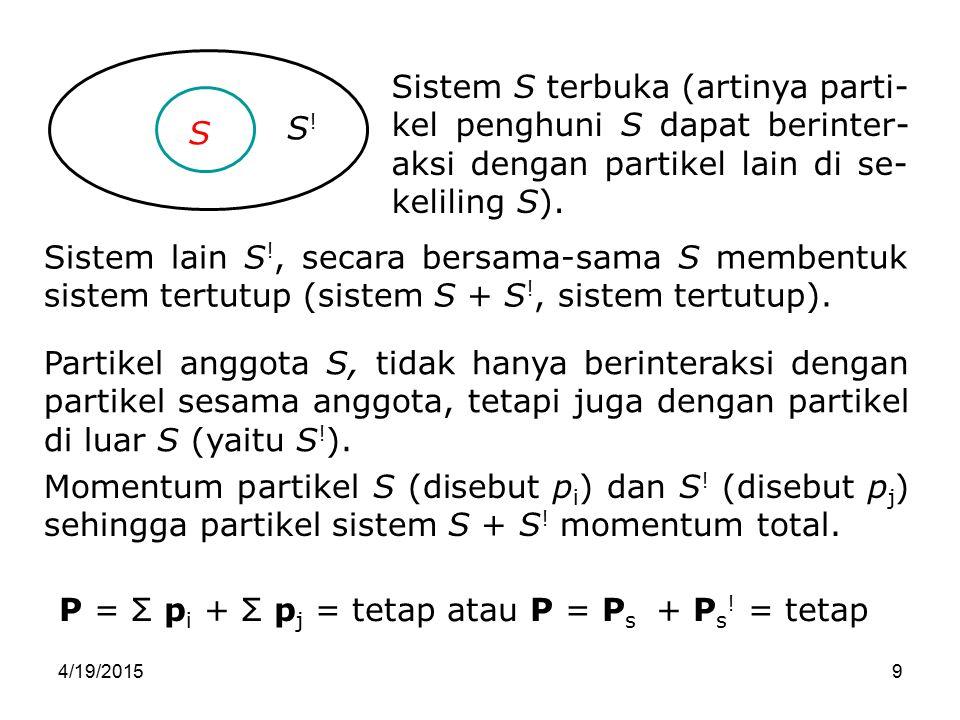 4/19/201520 Bab 6-20 Resultan F sistem, Perubahan p total sistem tiap satu satuan waktu = jumlah F luar yang bekerja pada partikel m 1 dan m 2.