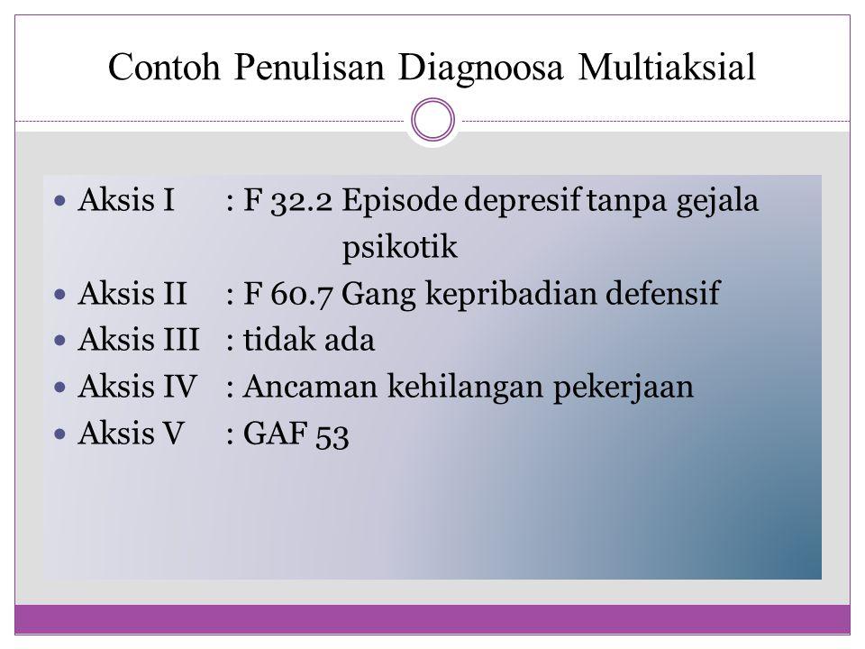 Contoh Penulisan Diagnoosa Multiaksial Aksis I: F 32.2 Episode depresif tanpa gejala psikotik Aksis II: F 60.7 Gang kepribadian defensif Aksis III: ti