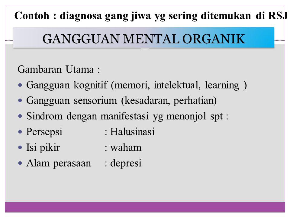 GANGGUAN MENTAL ORGANIK Gambaran Utama : Gangguan kognitif (memori, intelektual, learning ) Gangguan sensorium (kesadaran, perhatian) Sindrom dengan manifestasi yg menonjol spt : Persepsi : Halusinasi Isi pikir: waham Alam perasaan : depresi Contoh : diagnosa gang jiwa yg sering ditemukan di RSJ
