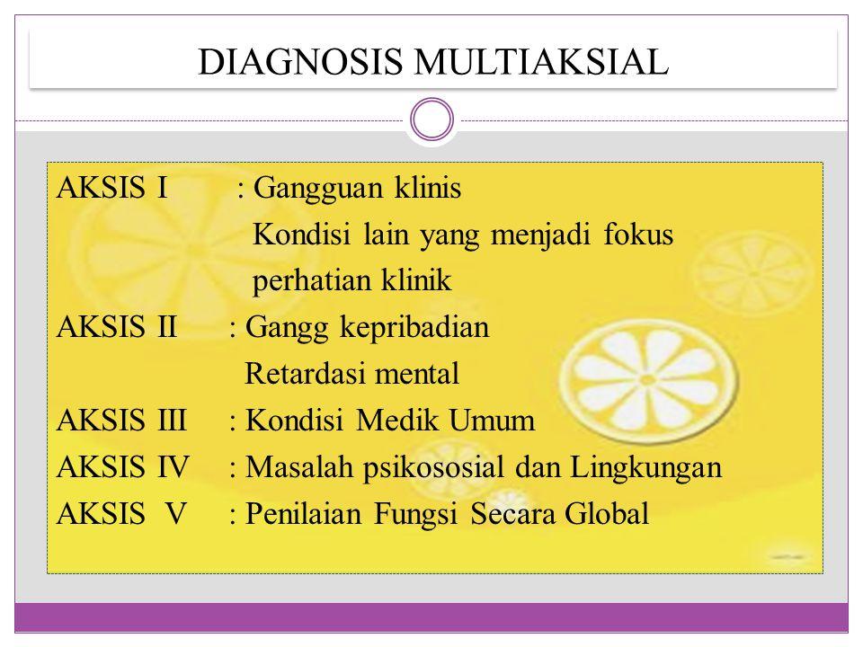 DIAGNOSIS MULTIAKSIAL AKSIS I : Gangguan klinis Kondisi lain yang menjadi fokus perhatian klinik AKSIS II: Gangg kepribadian Retardasi mental AKSIS II