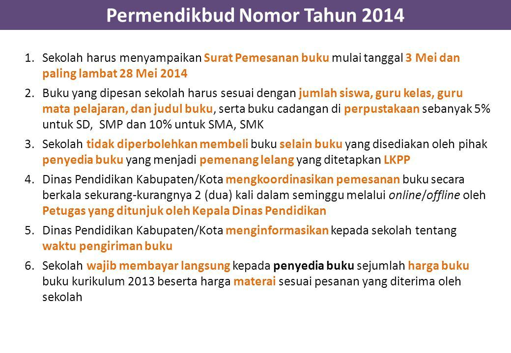 Permendikbud Nomor Tahun 2014 1.Sekolah harus menyampaikan Surat Pemesanan buku mulai tanggal 3 Mei dan paling lambat 28 Mei 2014 2.Buku yang dipesan