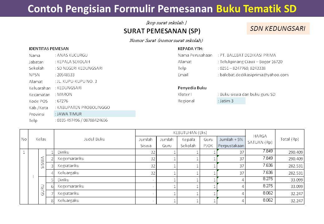 Contoh Pengisian Formulir Pemesanan Buku Tematik SD SDN KEDUNGSARI