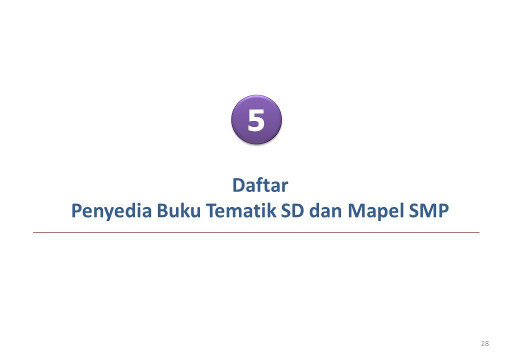 Daftar Penyedia Buku Tematik SD dan Mapel SMP 28 5 5