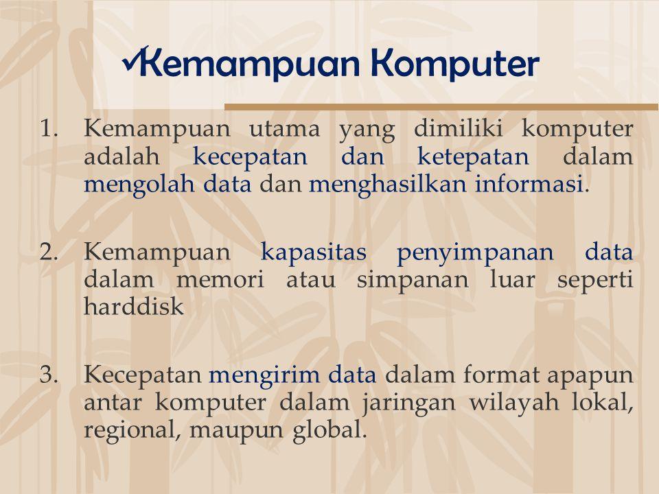 1.Kemampuan utama yang dimiliki komputer adalah kecepatan dan ketepatan dalam mengolah data dan menghasilkan informasi. 2.Kemampuan kapasitas penyimpa