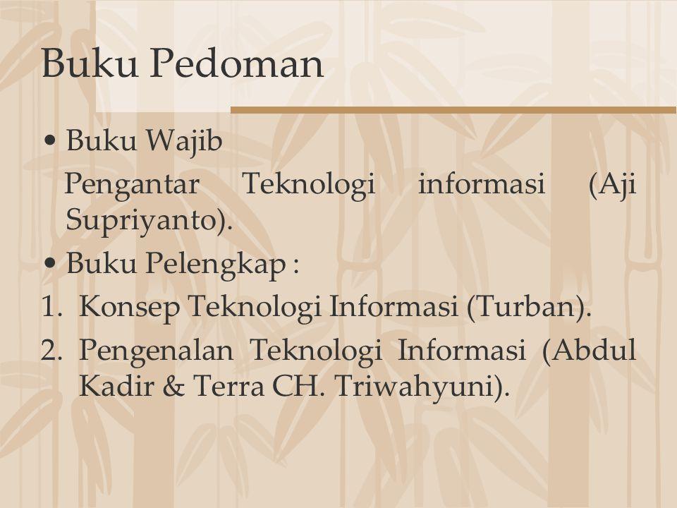 Buku Pedoman Buku Wajib Pengantar Teknologi informasi (Aji Supriyanto). Buku Pelengkap : 1.Konsep Teknologi Informasi (Turban). 2.Pengenalan Teknologi