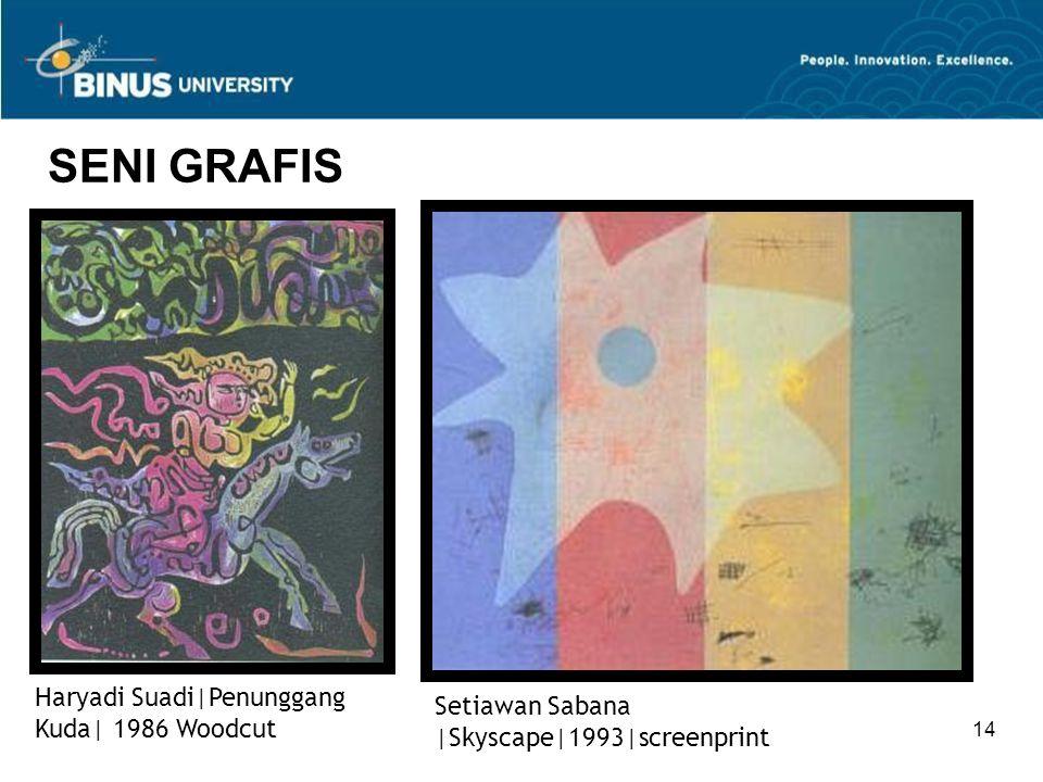 14 SENI GRAFIS Setiawan Sabana  Skyscape 1993 screenprint Haryadi Suadi Penunggang Kuda  1986 Woodcut