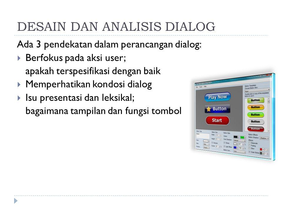DESAIN DAN ANALISIS DIALOG Ada 3 pendekatan dalam perancangan dialog:  Berfokus pada aksi user; apakah terspesifikasi dengan baik  Memperhatikan kon