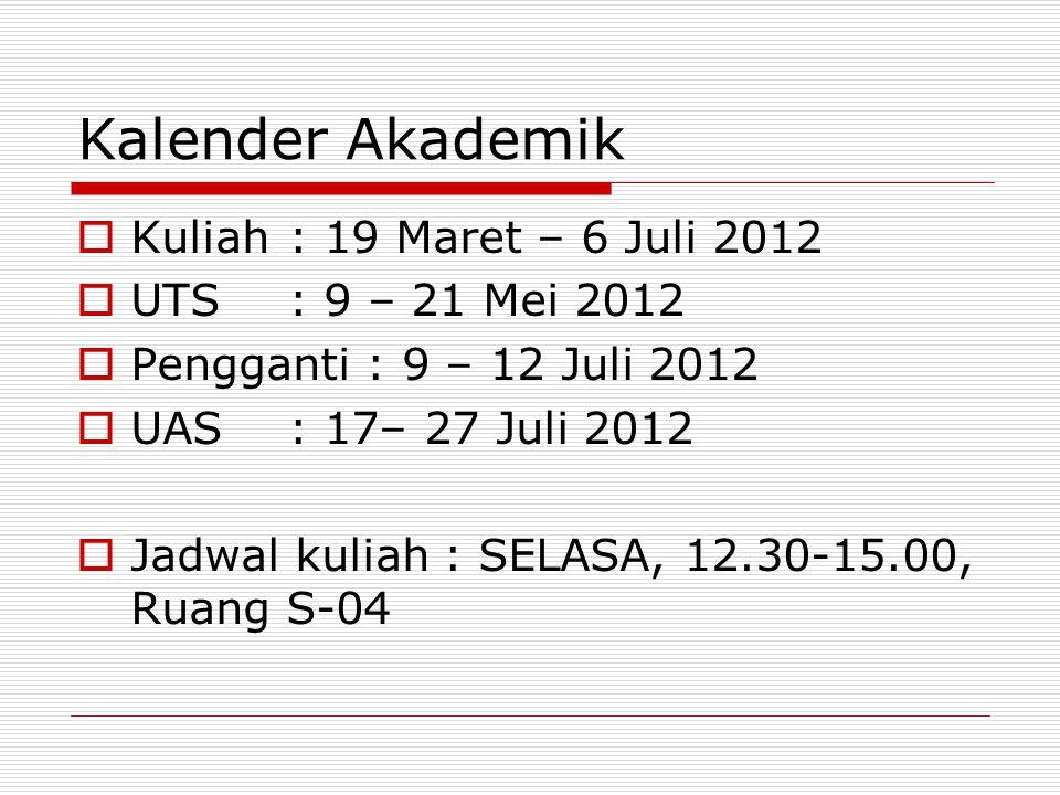 Kalender Akademik  Kuliah: 19 Maret – 6 Juli 2012  UTS: 9 – 21 Mei 2012  Pengganti : 9 – 12 Juli 2012  UAS: 17– 27 Juli 2012  Jadwal kuliah : SEL