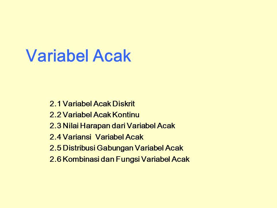 Variabel Acak 2.1 Variabel Acak Diskrit 2.2 Variabel Acak Kontinu 2.3 Nilai Harapan dari Variabel Acak 2.4 Variansi Variabel Acak 2.5 Distribusi Gabun