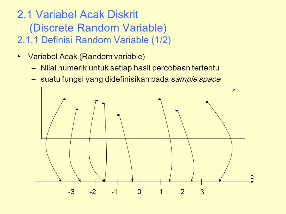 2.1.1 Definisi Random Variable (2/2) Contoh 1 : Kerusakan Mesin –Sample space : S={ Elektrik, Mekanik} –Setiap kerusakan terkait dengan biaya perbaikan –State space {50,200}: –Biaya adalah variabel acak 50, 200