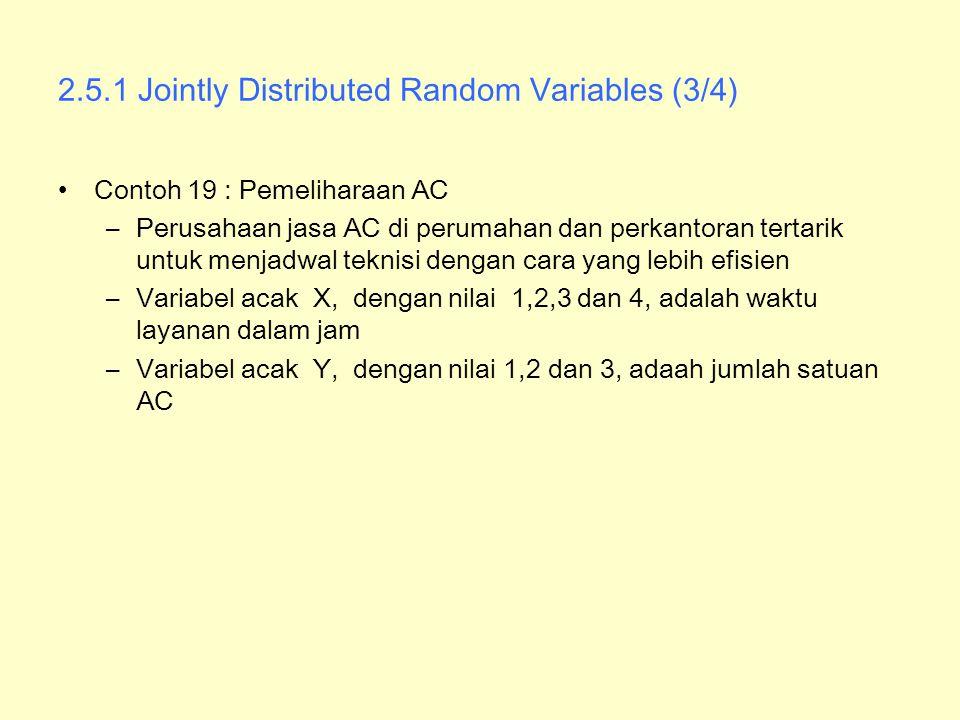 2.5.1 Jointly Distributed Random Variables (3/4) Contoh 19 : Pemeliharaan AC –Perusahaan jasa AC di perumahan dan perkantoran tertarik untuk menjadwal