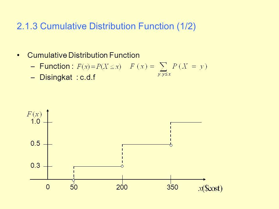 2.5.3 Conditional Probability Distributions (1/2) Distribusi Probabilitas Bersyarat –Probabilistas dari variabel acak X berdasarkan pengetahuan yang diberikan oleh nilai Y –Diskrit –Kontinu –Distribusi probabilitas bersyarat adalah distribusi probabilitas.