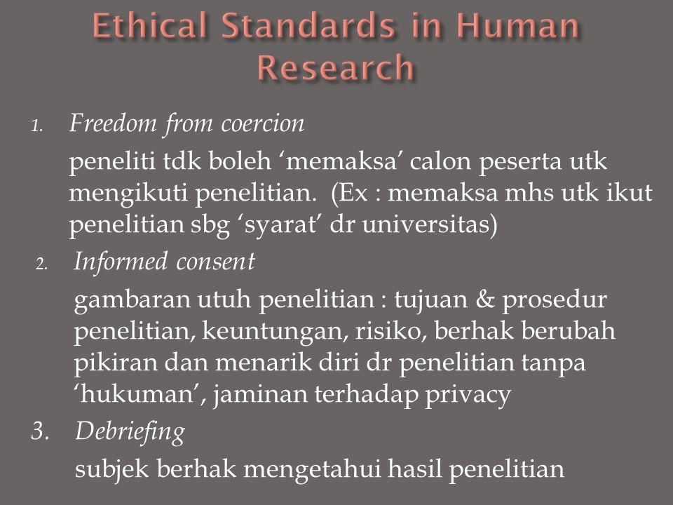1. Freedom from coercion peneliti tdk boleh 'memaksa' calon peserta utk mengikuti penelitian. (Ex : memaksa mhs utk ikut penelitian sbg 'syarat' dr un