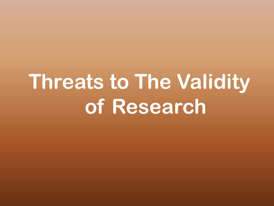 Threats to The Validity of Research