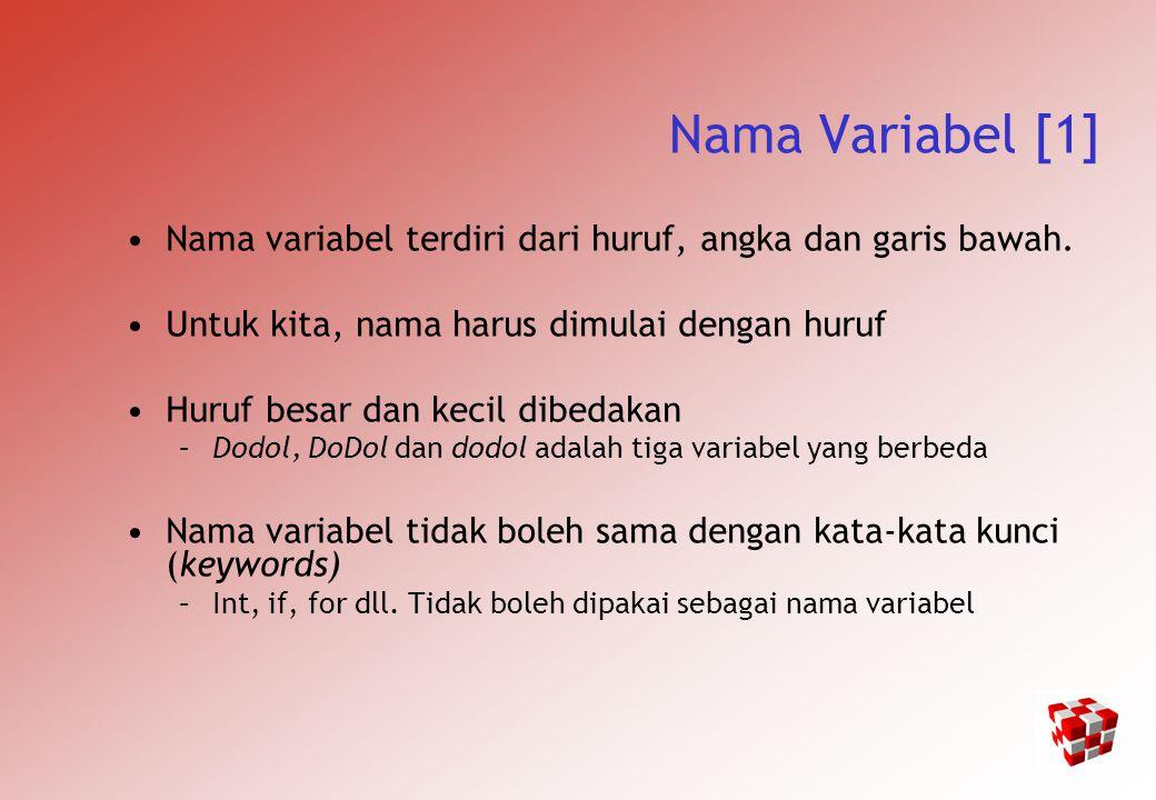 Contoh MEMBACA DAN MENCETAK #include main() { int sum; char letter; float money; cout << Please enter an integer value ; cin >> sum; cout << Please enter a character ; cin >> letter; cout << Please enter a float variable ; cin >> money; cout << \nThe variables you entered were\n ; cout << value of sum = << sum << \n ; cout << value of letter = << letter << \n ; cout << value of money = << money << \n ; }