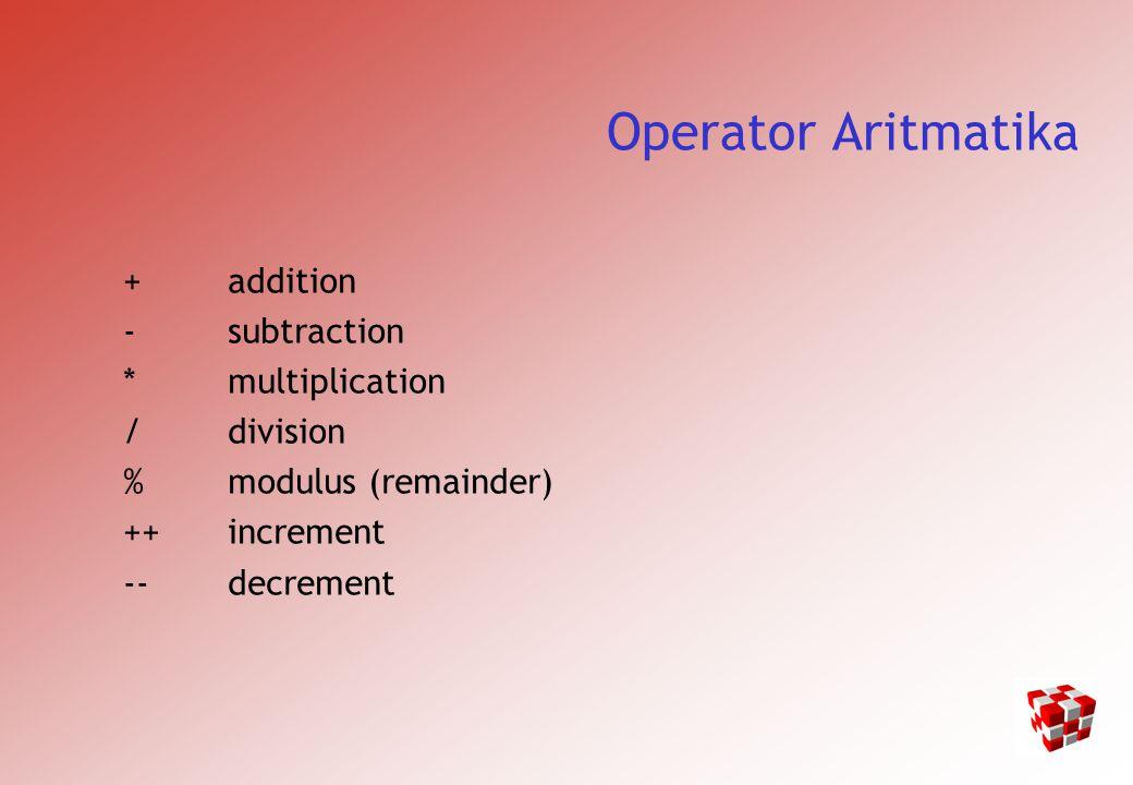 Operator Aritmatika Utama operator – untuk mengurangi dua angka (a - b), atau memberi tanda negatif ( -a + b atau a + -b).